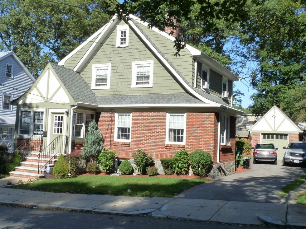 Classic brick english tudor style colonial in west roxbury for Tudor colonial style home